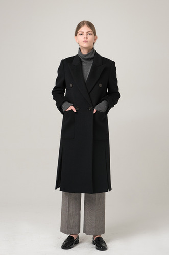 MODERN SLIT DOUBLE COAT _BLACK