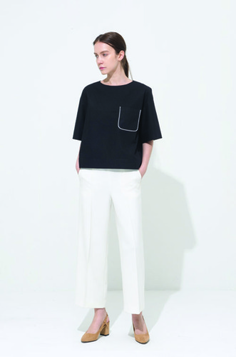 POCKET BLOCK BLOUSE [BK]
