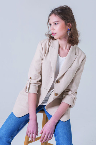 BACK SLIT LINEN JACKET [BE]