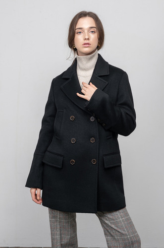 TAILORED DOUBLE WOOL COAT[BK]