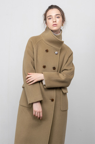 [7차 리오더/9/9일예약배송] HIGH_NECK DOUBLE WOOL LONG COAT [KBE]