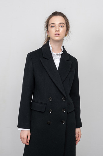 TAILORED DOUBLE BREASTED WOOL COAT [BK]
