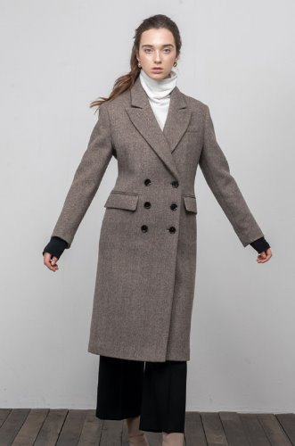 [2차리오더]HERRINGBONE DOUBLE BREASTED WOOL COAT[HB]