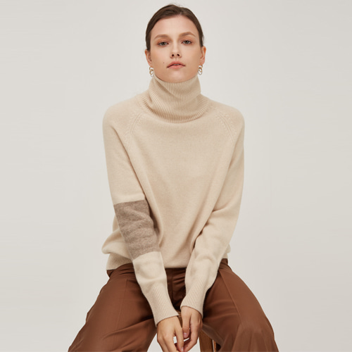 [노코시크] CASHMERE DOUBLE NECK KNIT [IV]