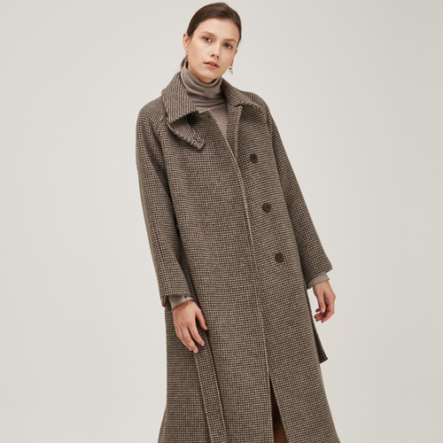 [노코시크] RAGLAN CHECK DOUBLE WOOL COAT