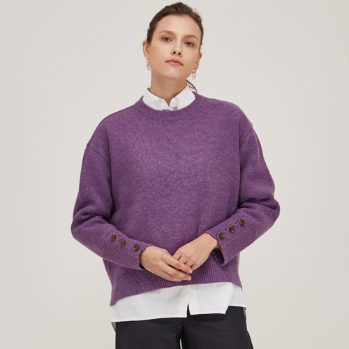 [노코시크] POINT SLEEVE LAMS WOOL KNIT [PR]