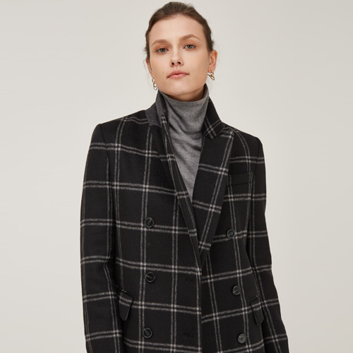 [노코시크] WOOL BLENDED DOUBLE BREASTED CHECK JACKET
