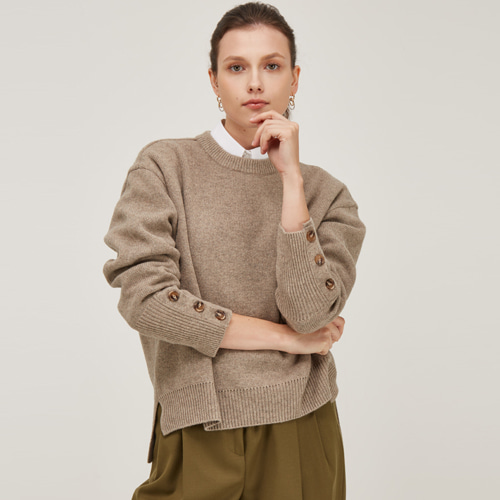 [노코시크] POINT SLEEVE LAMS WOOL KNIT [WD]